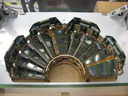Photograph of a FPIX half-disk in the original CMS detector