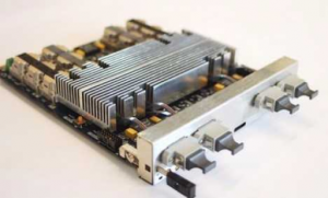 """A uTCA board (a UK """"MP7"""" card) which implemented the Stage-1 trigger algorithms"""
